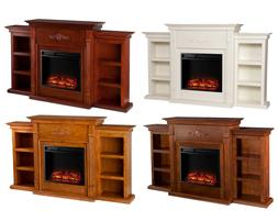 Electric Fireplace Heater with LED Logs Wood Mantel Bookshel