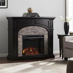 electric fireplace in ebony and gray