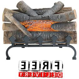 Electric Fireplace Log Free Standing Glow Set Real Wood Comf