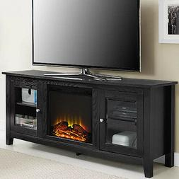 Electric Fireplace TV Stand Black Media Wood Console Heater