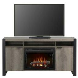 Bowery Hill Electric Fireplace TV Stand with Logset in Steel