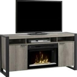 BOWERY HILL Electric Fireplace TV Stand with Acrylic in Stee