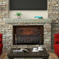 Electric Log Set Heater with Realistic Ember Bed  Fireplace