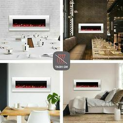 Electric No Heat White Fireplace Color Changing LED Wall Mou