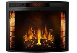 Elwood Curved Electric Fireplace Insert, 20.3 H x 27.6 W x 8