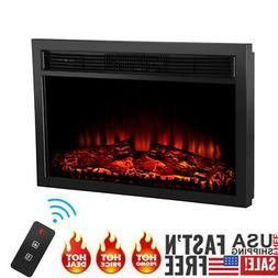 Embedded Fireplace Electric Insert Heater Glass View Log Fla