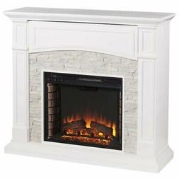 Pemberly Row Faux Stone Electric Fireplace TV Stand
