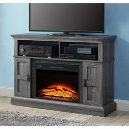 gray rustic electric fireplace tv