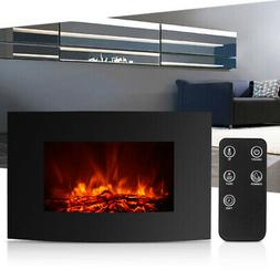 IKAYAA XL Electric Wall Mount Fireplace 3D Flame Heat With R