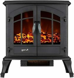 jasper free standing electric fireplace stove black