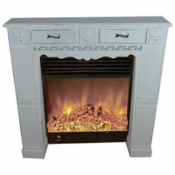 Jeco Electric Fireplace in Distressed Gray