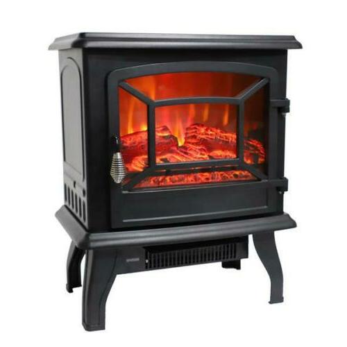 1400W Electric Fireplace Free Standing Heater Fire Stove