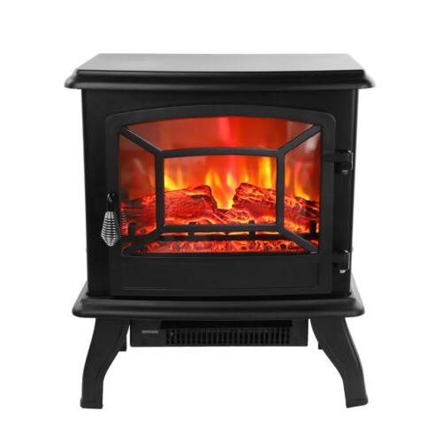 1500W Electric Fireplace Heater Wood Fire 68-95℉/20-35℃