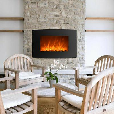 """LED Electric Wall Mount Fireplace with Remote and Timer 35"""""""
