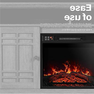 "18""Embedded Fireplace Remote Heater Adjustable 1400W Black"