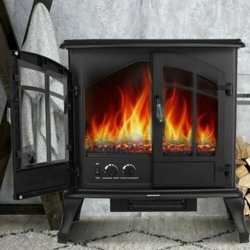 Electric Fireplace Realistic Flame Freestanding
