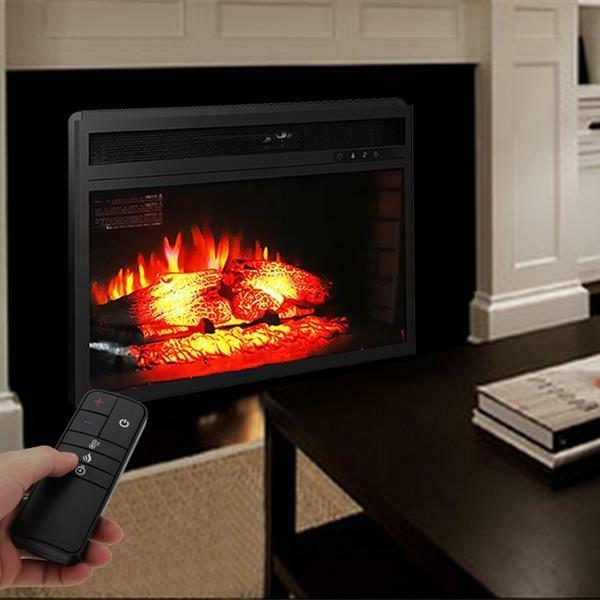 """26"""" Ventless Heater Electric Fireplace Adjustable Flame, Black"""