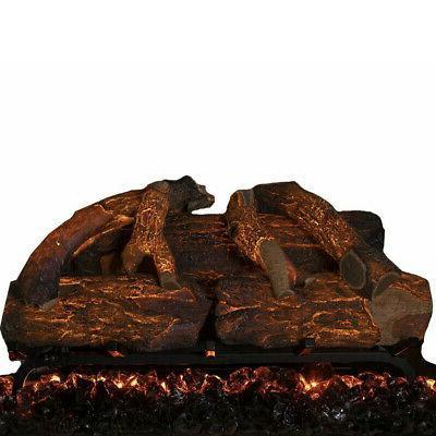 26 inch electric fireplace log set oak