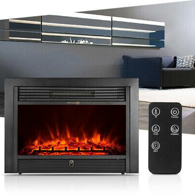 "35"" Wall Electric Fireplace Insert Flame Control"
