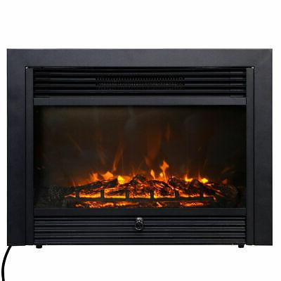 """28.5"""" Fireplace Embedded Insert Glass Log Flame Remote Home"""