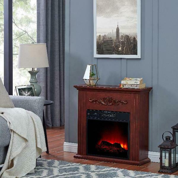 Electric Fireplace TV Stand Heater with Mantle Wood Living R