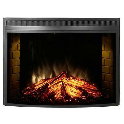 33 curved glass front electric heater fireplace