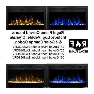 Curved Ventless Electric Fireplace Insert