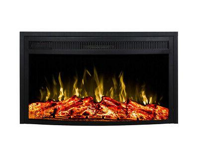 33 inch curved ventless heater electric fireplace