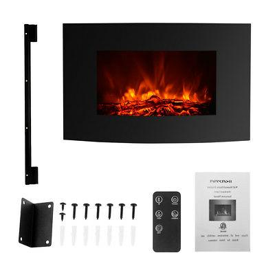 """LARGE 35"""" ELECTRIC WALL MOUNT FIREPLACE 3D FLAME HEATER WITH"""