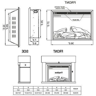 """36"""" Insert Freestanding Stove Heater Touch 750W-1500W"""