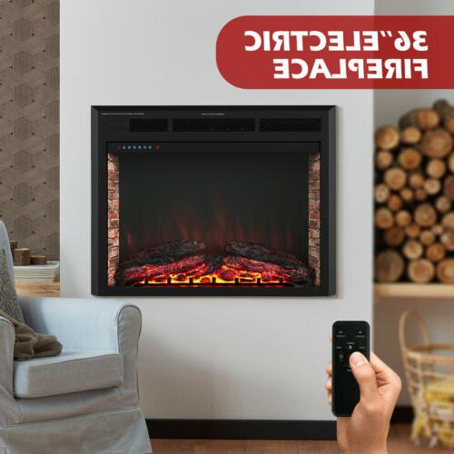36 insert electric fireplace heater wall mounted