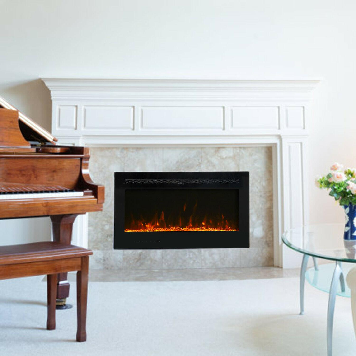 """36"""" Fireplace Heater LED Flame RC 750/1500W"""