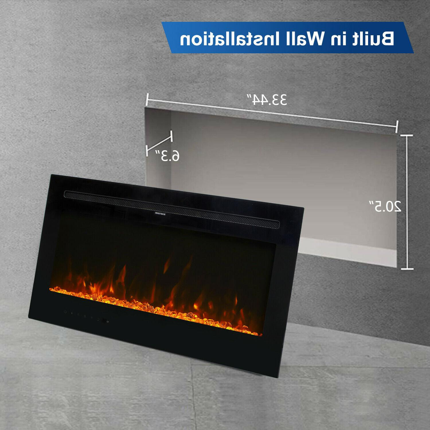 """36"""" Mount Fireplace Heater Multi-Color LED Flame with"""