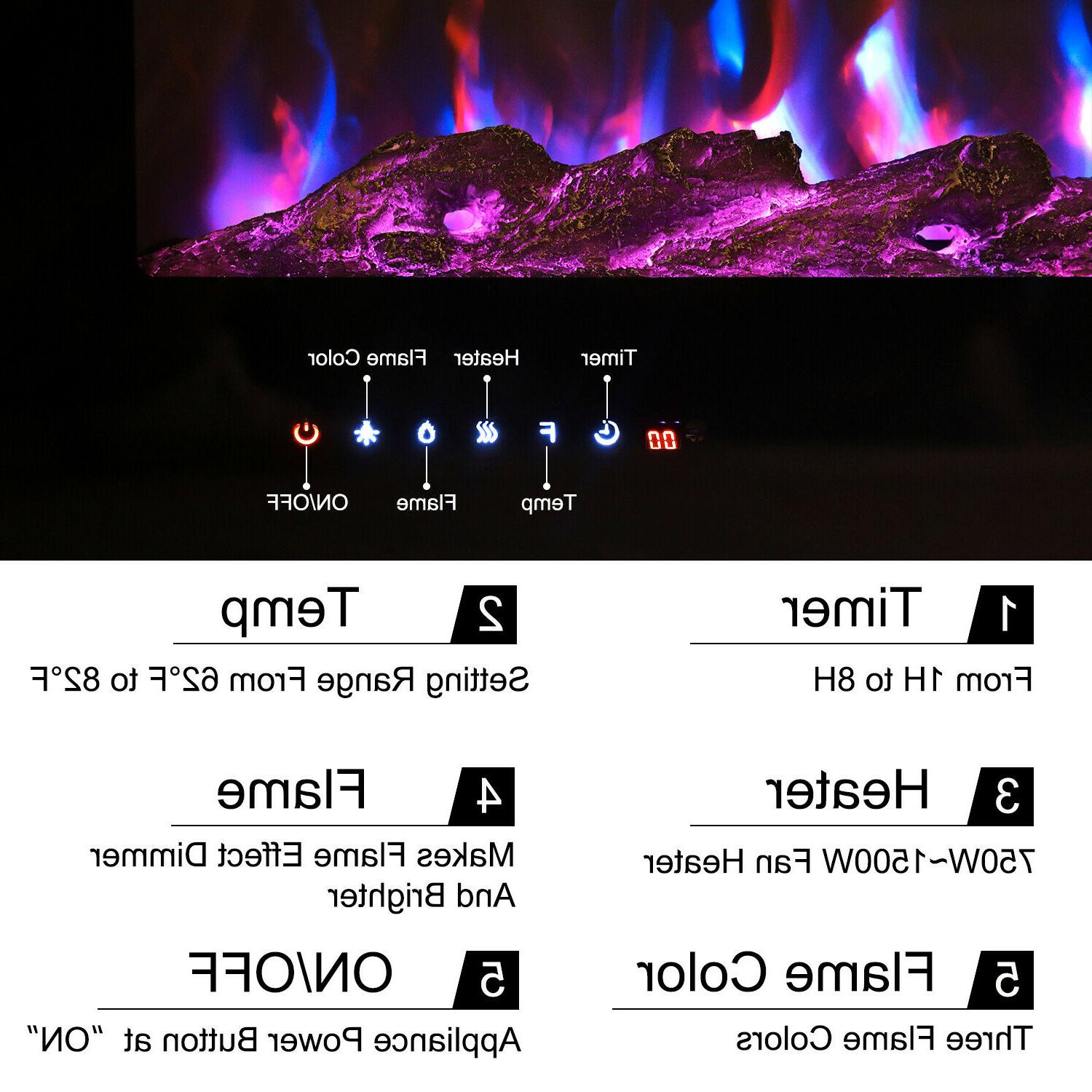 Large Electric Fireplace Mount Home Heater Flame Log