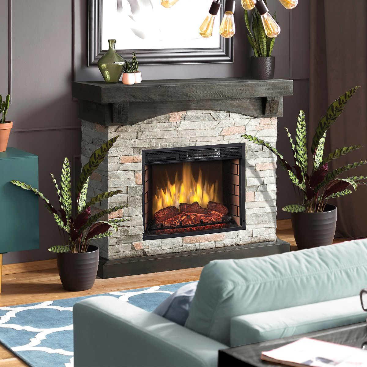 42 electric fireplace gray faux stone mantel