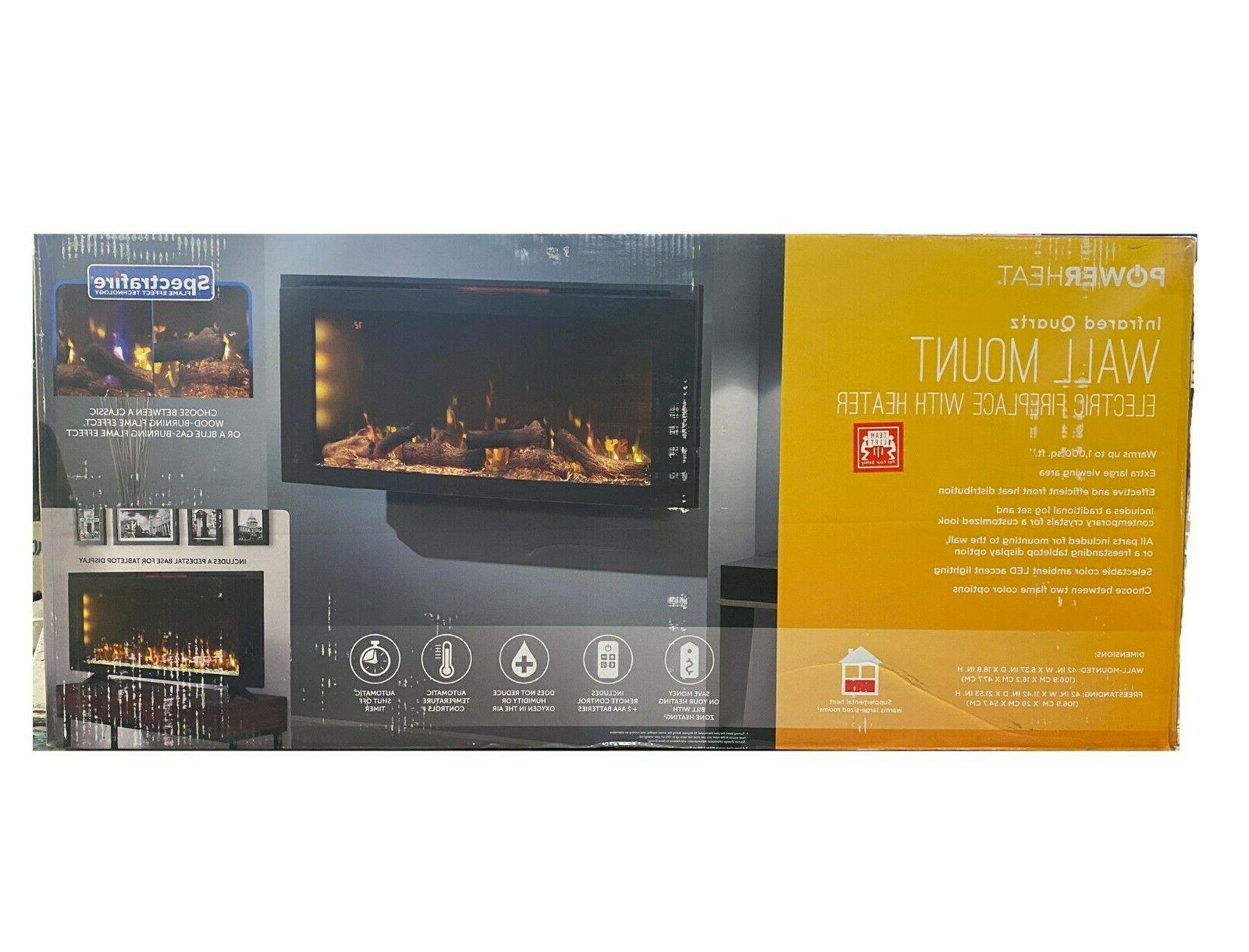 42 wall mounted electric fireplace with display