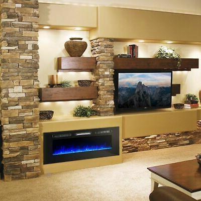 """60"""" Wide Fireplace Wall Mounted Heater Flame"""