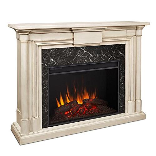 Real Flame Grand Fireplace, Whitewash