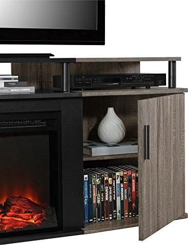 Ameriwood Home Fireplace TV Console for TVs Weathered