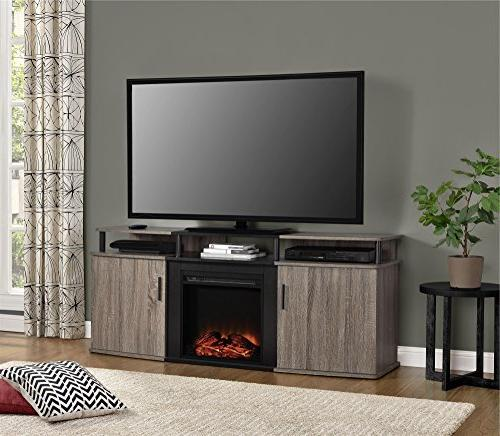 """Ameriwood Carson Fireplace TV Console TVs up to 70"""", Weathered Oak"""