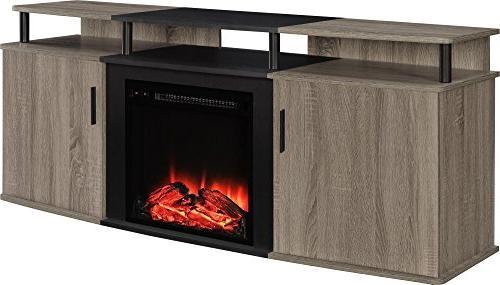 Ameriwood Home Fireplace TV TVs up Weathered Oak