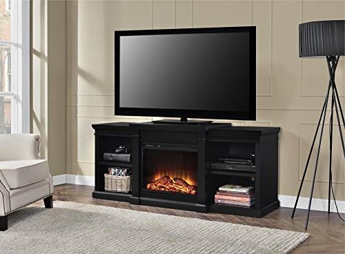 Ameriwood Fireplace TV Stand TVs up Black