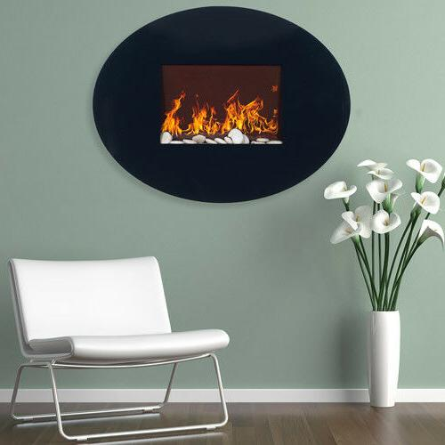 black oval glass electric fireplace