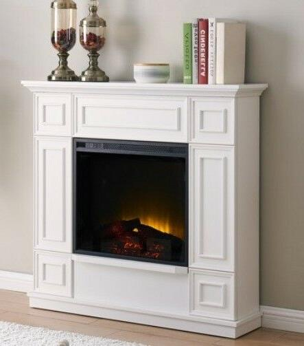 """Classic White Electric Fireplace w/ 44"""" Mantle Fireplaces Heater"""