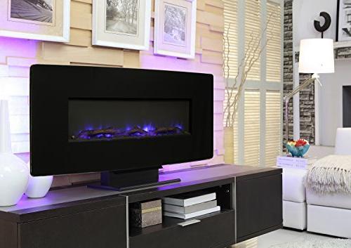 "Muskoka Curved 36"" Wall Mount Fireplace-Black"