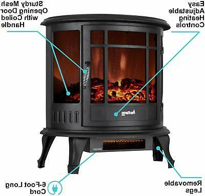 e-Flame Electric Fireplace Stove - 3-D Log and Effec