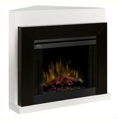 ebony covertable corner electric fireplace black white