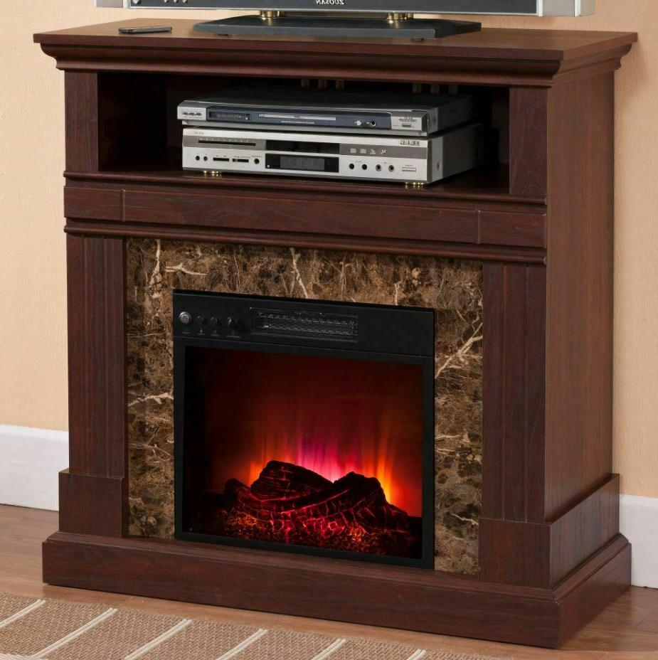 Elec Fireplace Heater Electric 36 Inch Mantel Decor LED Flam