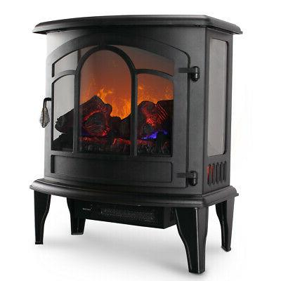 """20"""" Electric Fireplace Tempered Glass Adjustable 1400W Heate"""