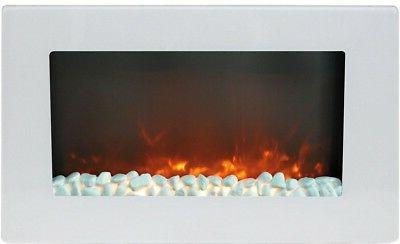 Electric Fireplace 30 in. Wall-Mount in White Finish with Cr